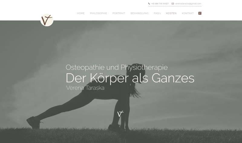 screenshot der Homepage von Verena Taraska als Kunde für webdesign von slidebird