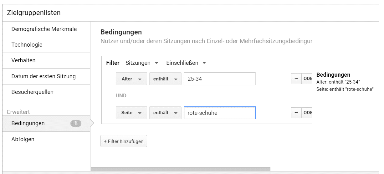 Benutzerdefinierte Listen Google Ads Remarketing