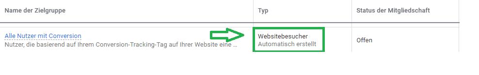 Remarketing Liste Webseitenbesucher automatisch erstellt