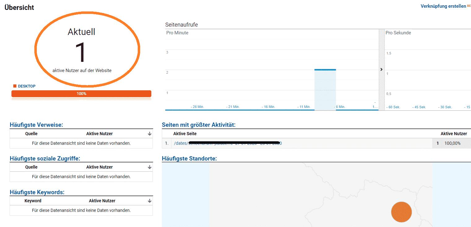 Google Analytics Echtzeit Report