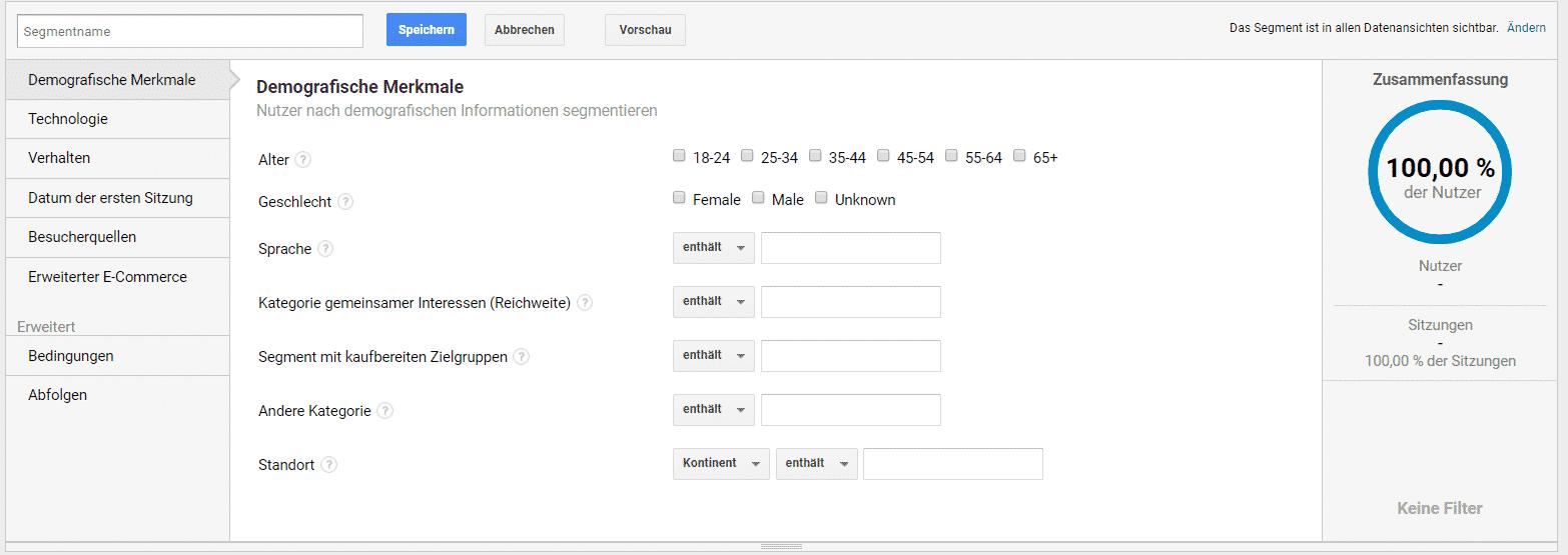 Google Analytics benutzerdefinierte Segmente